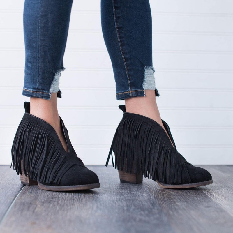 Babe Fringe Booties - Bellamie Boutique