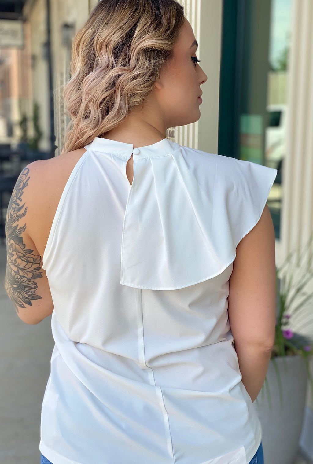 Kellie Top-White - Bellamie Boutique