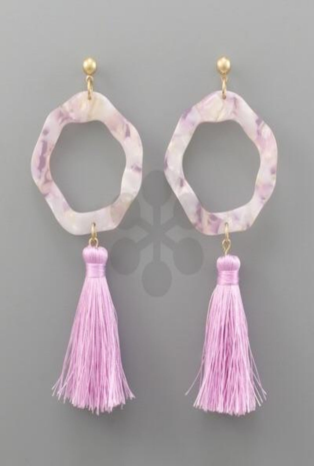 Purple Acrylic Ring Tassel Earrings - Bellamie Boutique