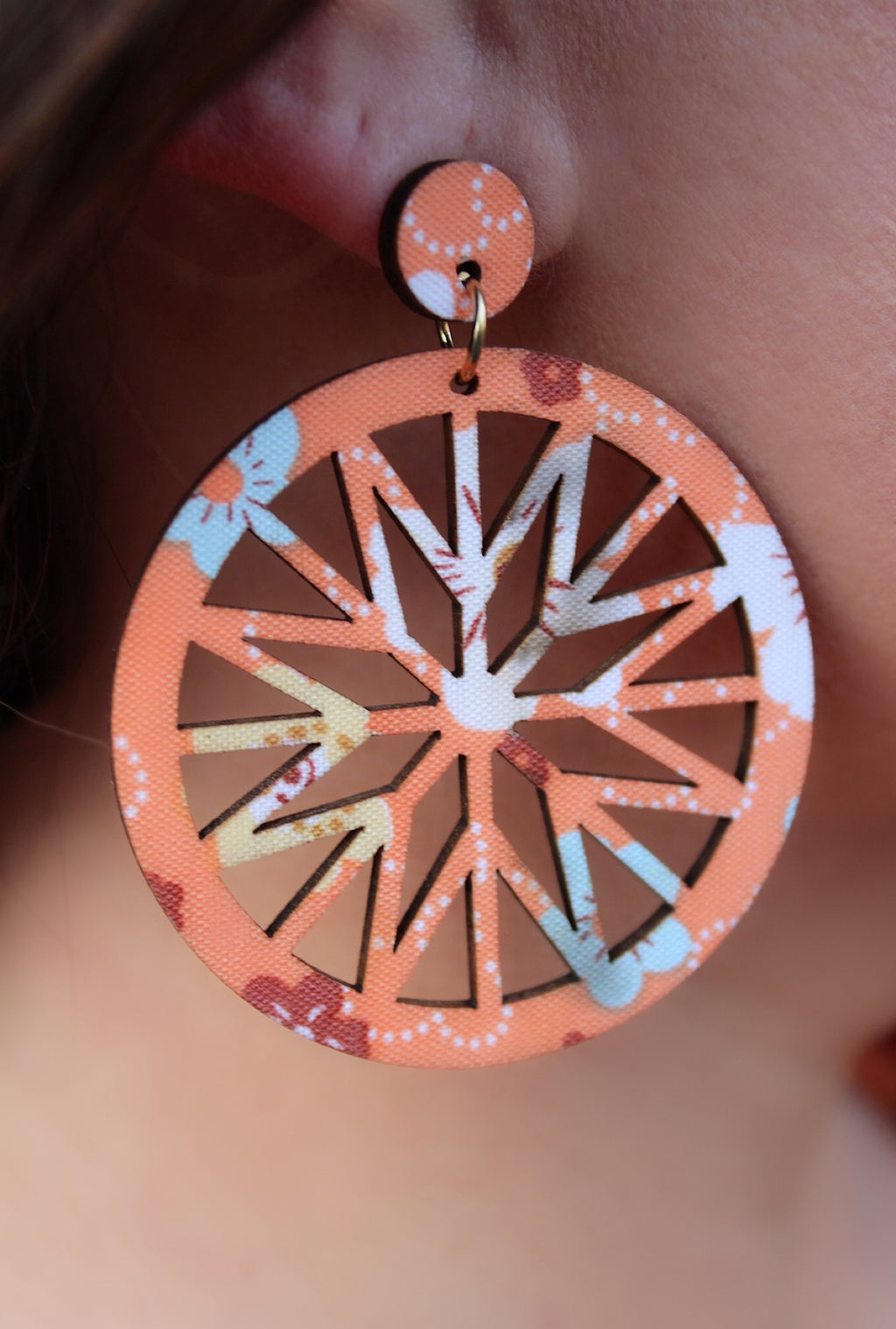 Orange Floral Wood Earrings - Bellamie Boutique