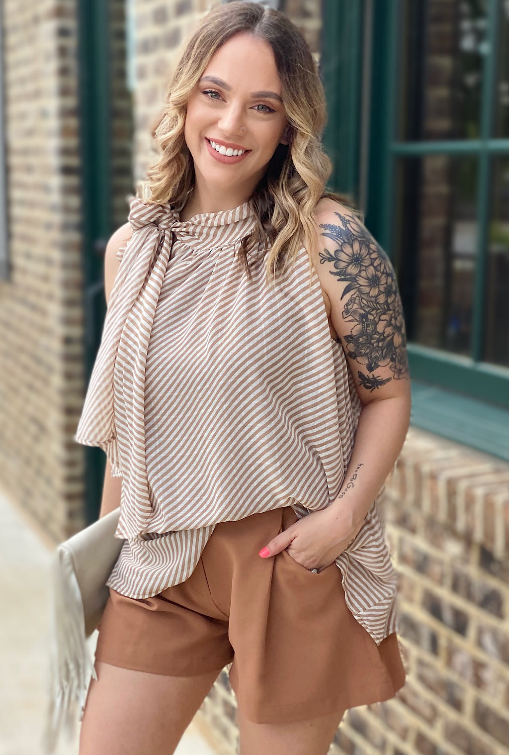 Alice Striped Top-Taupe - Bellamie Boutique