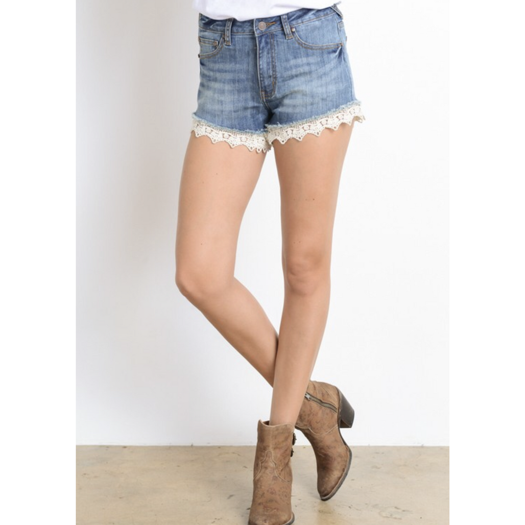 Denim & Lace Shorts - Bellamie Boutique