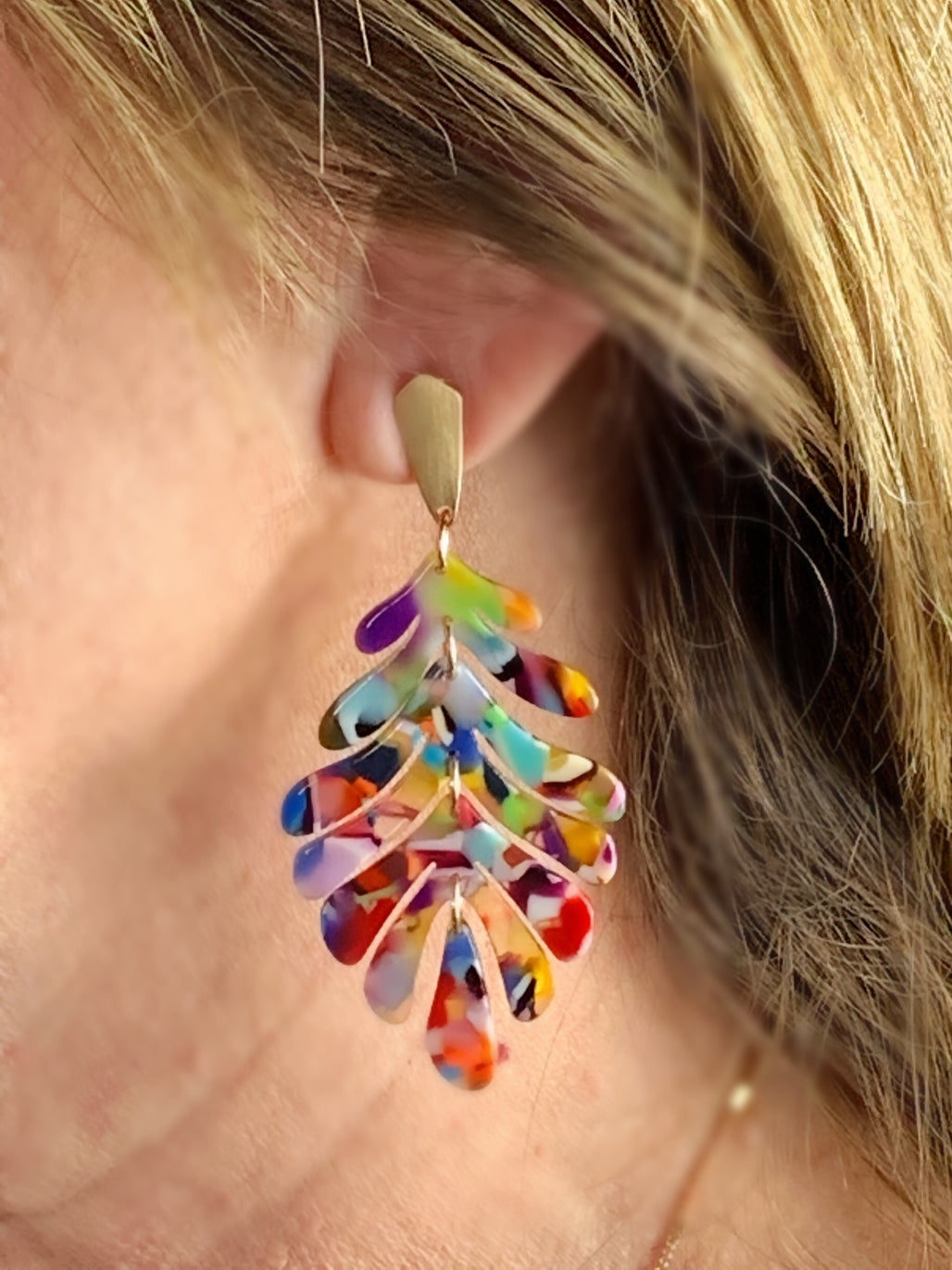 Multi Color Leaf Acrylic Earrings - Bellamie Boutique