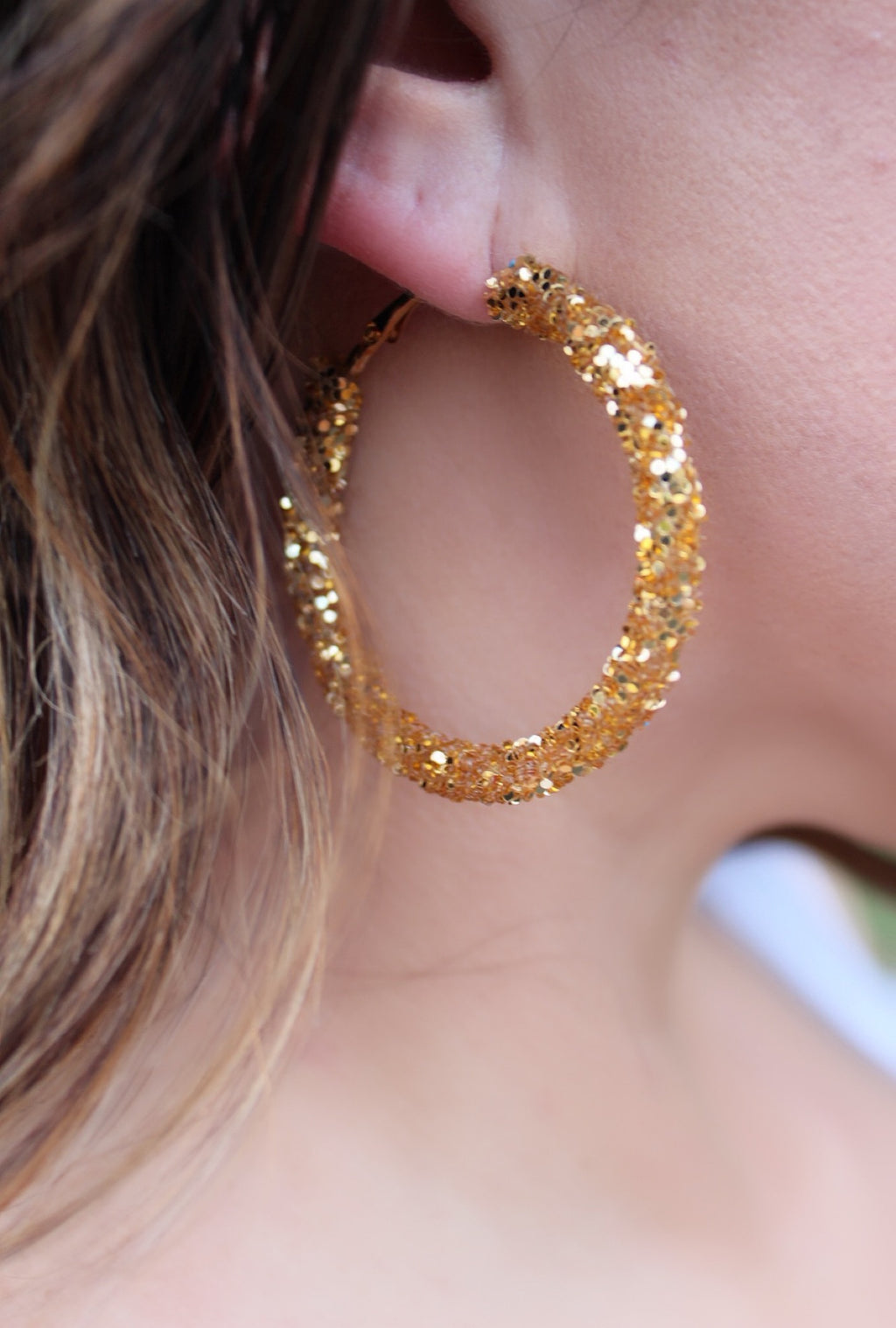 Gold Sequin Hoops - Bellamie Boutique