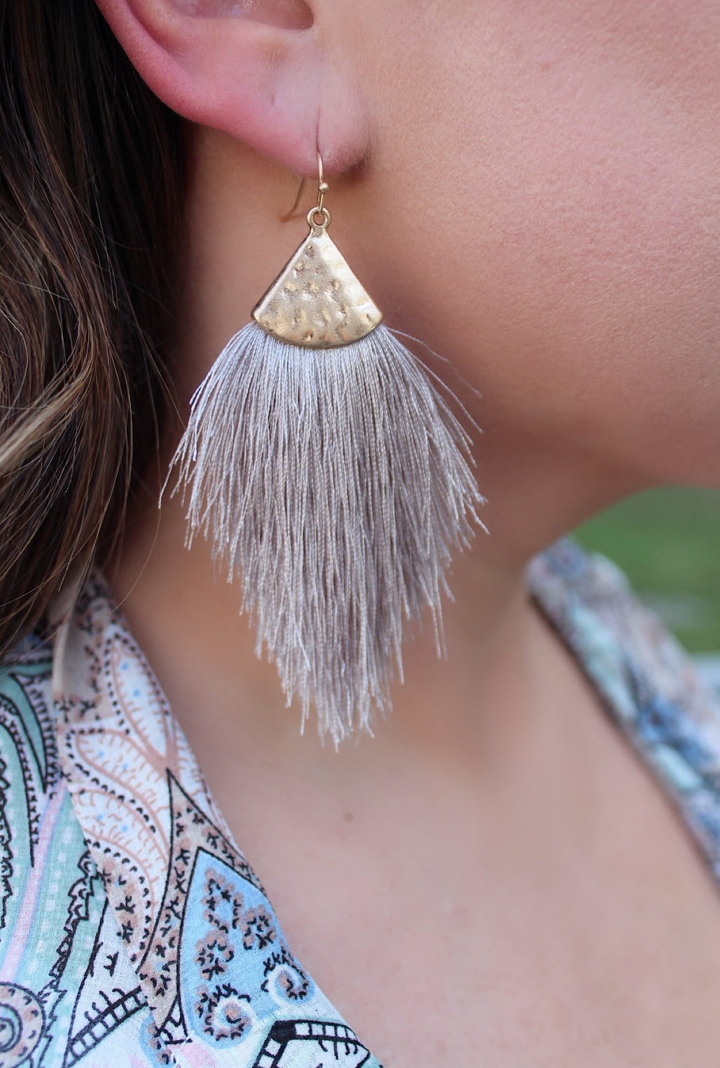Grey Feather Earrings - Bellamie Boutique