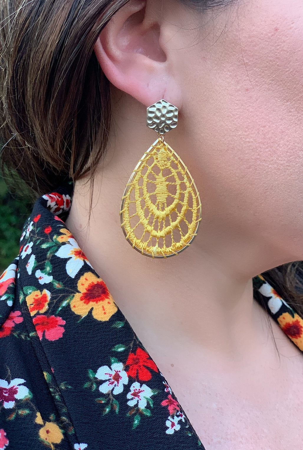 Mustard Crochet Earrings - Bellamie Boutique