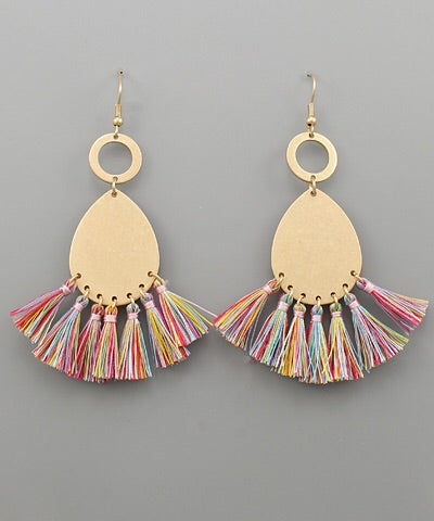 Multi Color Tassel Teardrop Earrings - Bellamie Boutique