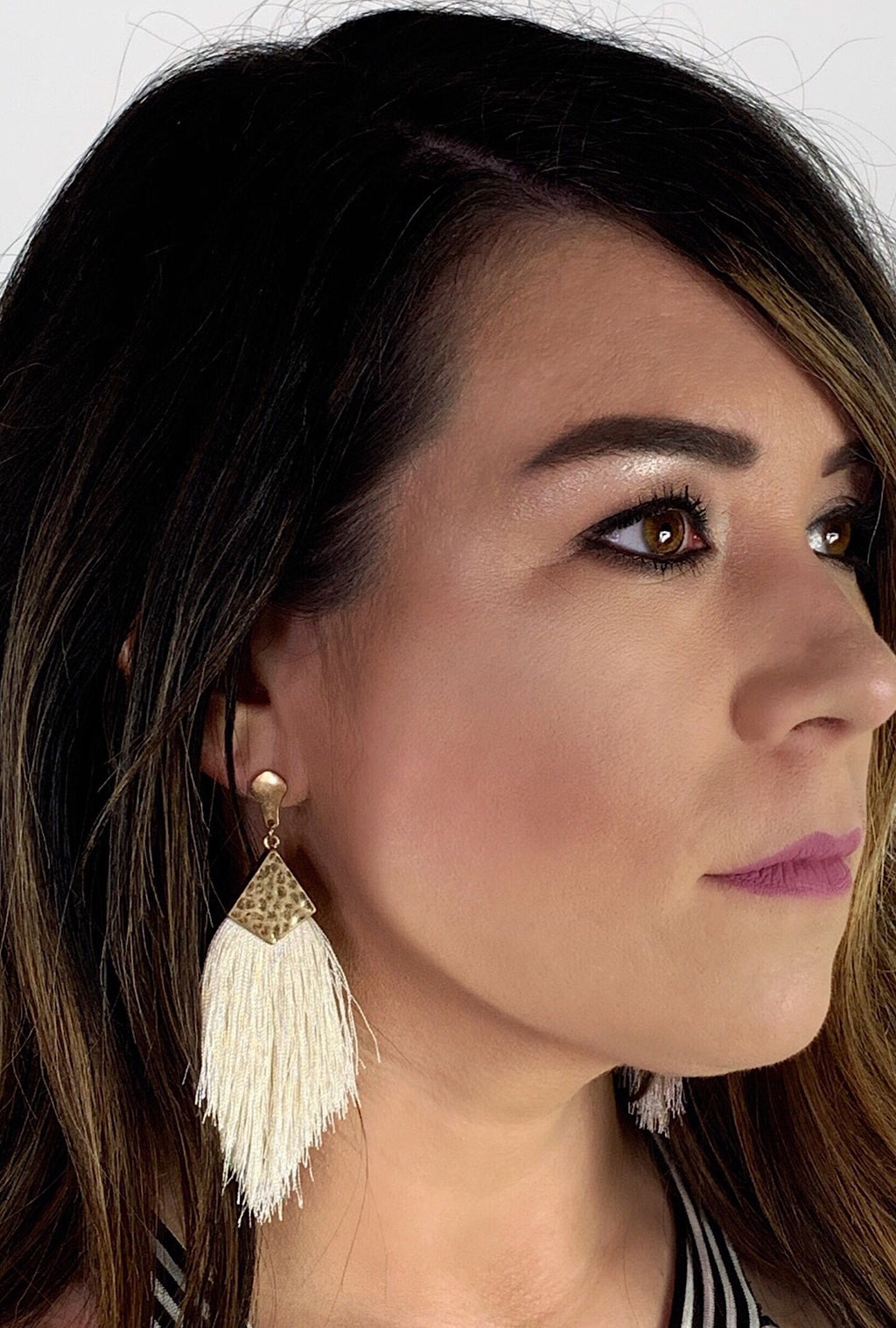 Ivory Capped Tassel Earrings - Bellamie Boutique
