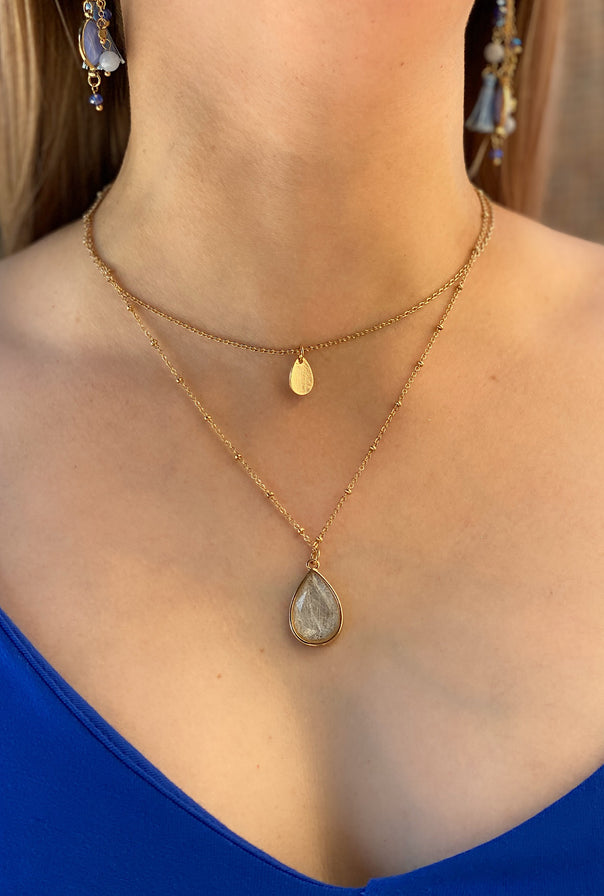 Teardrop Stone Layered Necklace