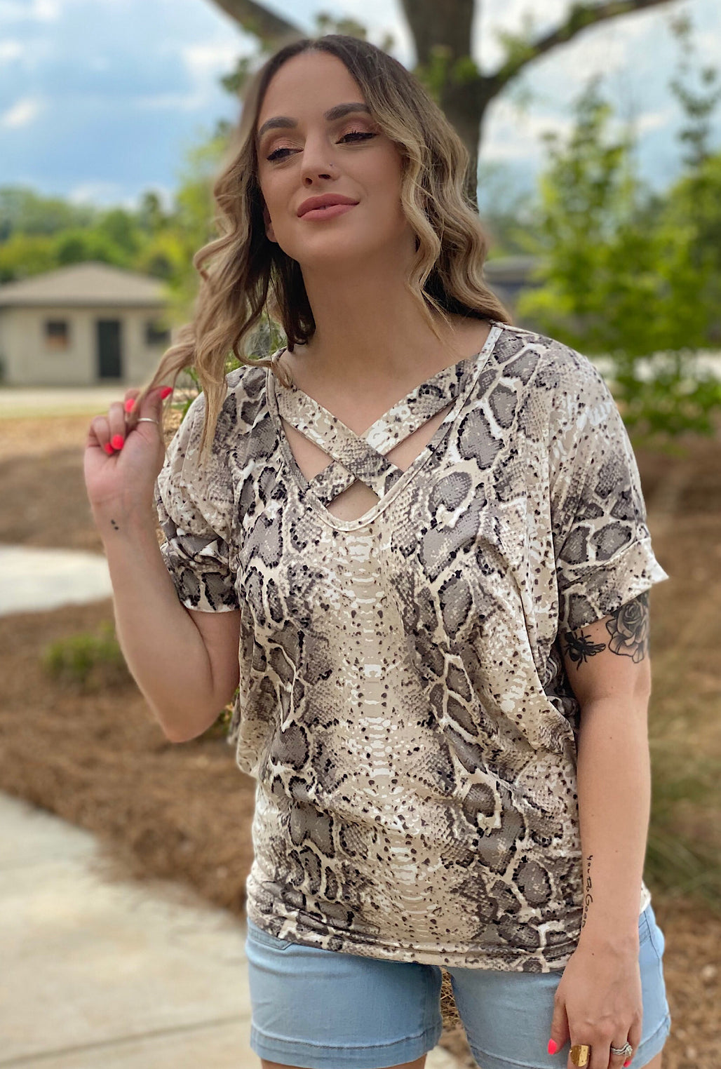 Athena Snake Top - Bellamie Boutique