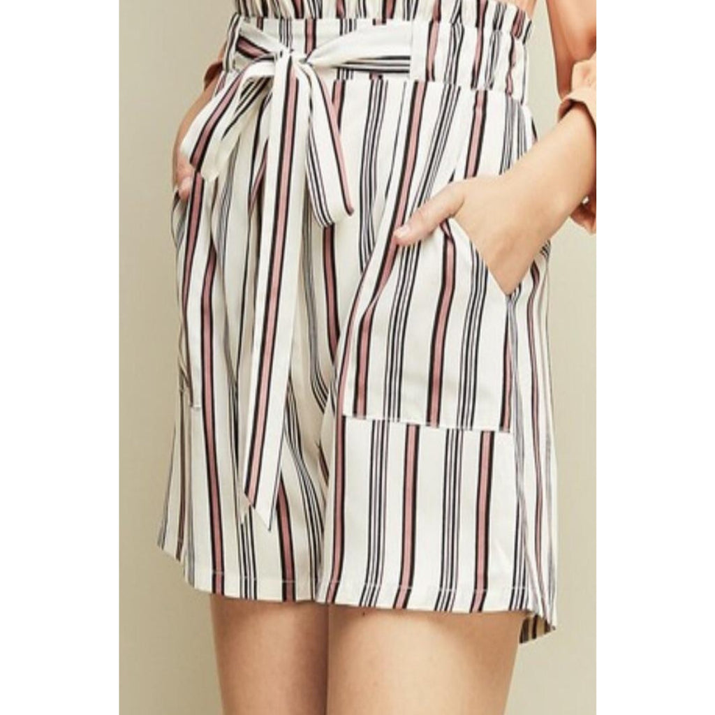 Never Change Your Stripes Shorts-White - Bellamie Boutique