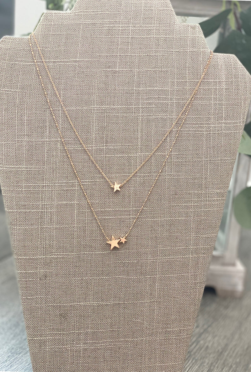 Gold Star Layered Necklace - Bellamie Boutique