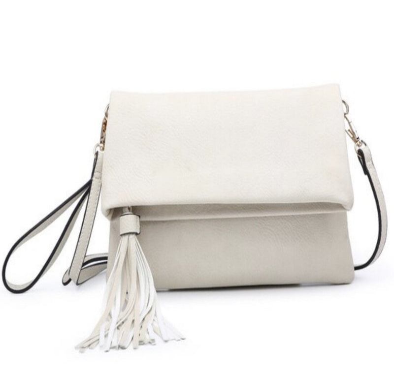Ivory Envelope Tassel Crossbody - Bellamie Boutique