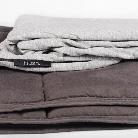 folded gray hush weighted blanket for sensory issues