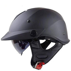 Ls2 Of590 Half Face Harley Motorcycle Retro Helmet with Sunshield-CRUISER HELMETS-CRUISER-Matte black-L-Helm Zone