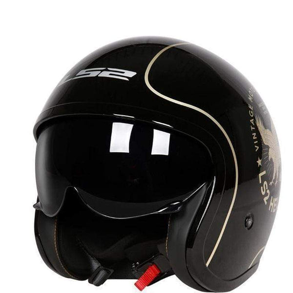 Ls2 Spitfire Of599 3/4 Open Face Vintage Motorcycle Helmet-CRUISER HELMETS-CRUISER-Bright black eagle-L-Helm Zone