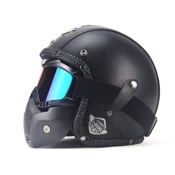 VOSS V-052 OPEN FACE VINTAGE MOTORCYCLE HELMETS WITH GOGGLE MASK-CRUISER HELMETS-CRUISER-Helm Zone