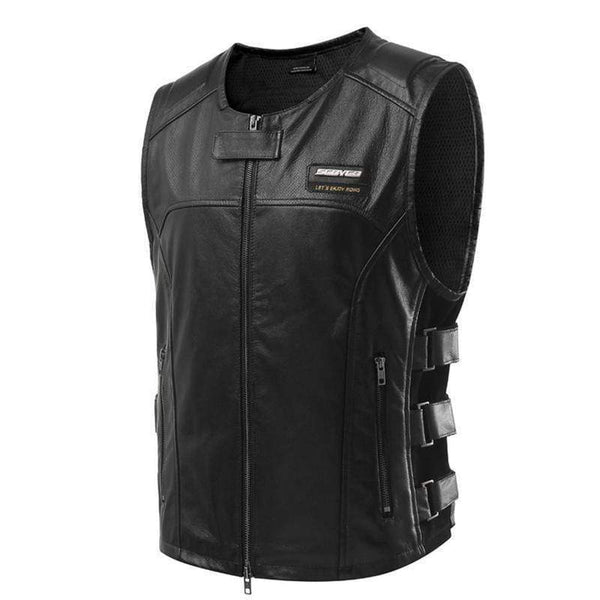 Scoyco Jk62 Leather Motorcycle Vest-CRUISER VESTS-CRUISER-Black-L-Helm Zone