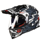 Ls2 Pioneer V2 Full Face Off-Road Helmets with Sun Shield-OFF-ROAD HELMETS-OFF-ROAD-black and gray-L-Helm Zone