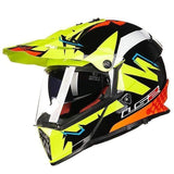 Ls2 Pioneer V2 Full Face Off-Road Helmets with Sun Shield-OFF-ROAD HELMETS-OFF-ROAD-black yellow and red-L-Helm Zone