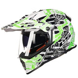 Ls2 Pioneer V2 Full Face Off-Road Helmets with Sun Shield-OFF-ROAD HELMETS-OFF-ROAD-white and green-L-Helm Zone