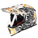 Ls2 Pioneer V2 Full Face Off-Road Helmets with Sun Shield-OFF-ROAD HELMETS-OFF-ROAD-white and yellow-L-Helm Zone