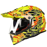 Ls2 Pioneer V2 Full Face Off-Road Helmets with Sun Shield-OFF-ROAD HELMETS-OFF-ROAD-yellow and red-L-Helm Zone