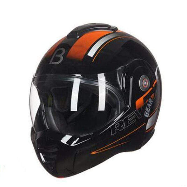 Beon T-702 Flip up Motorcycle Helmet Orange Black-STREET HELMETS-STREET-Black orange-M-Helm Zone
