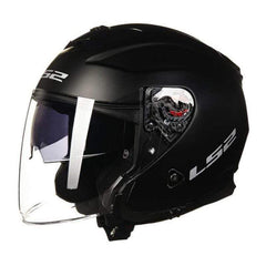 Ls2 Infinity Of521 3/4 Open Face Motorcycle Helmets with Double Visor-STREET HELMETS-STREET-Matte Black-L-Helm Zone