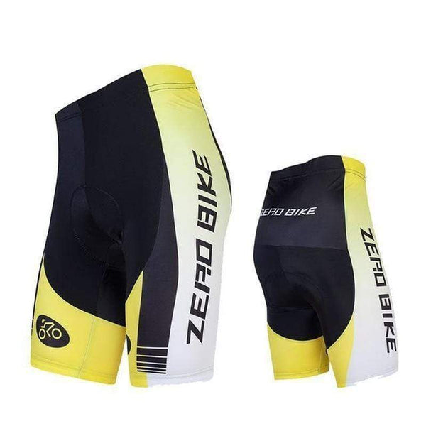 Zerobike Zrobmb Men's 4 D Gel Padded Cycling Shorts-TRIATHLON SHORTS-TRIATHLON-YELLOW WHITE-L-Helm Zone