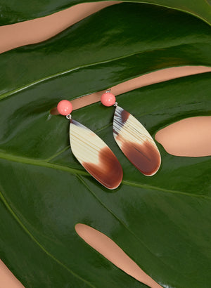 Splitleap Earrings, Pink Striped Shell