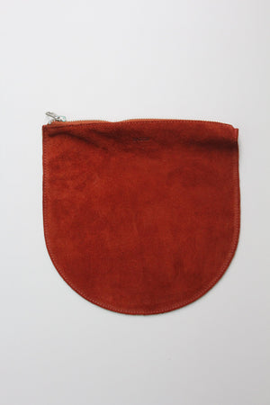 Large U Pouch, Rust Suede