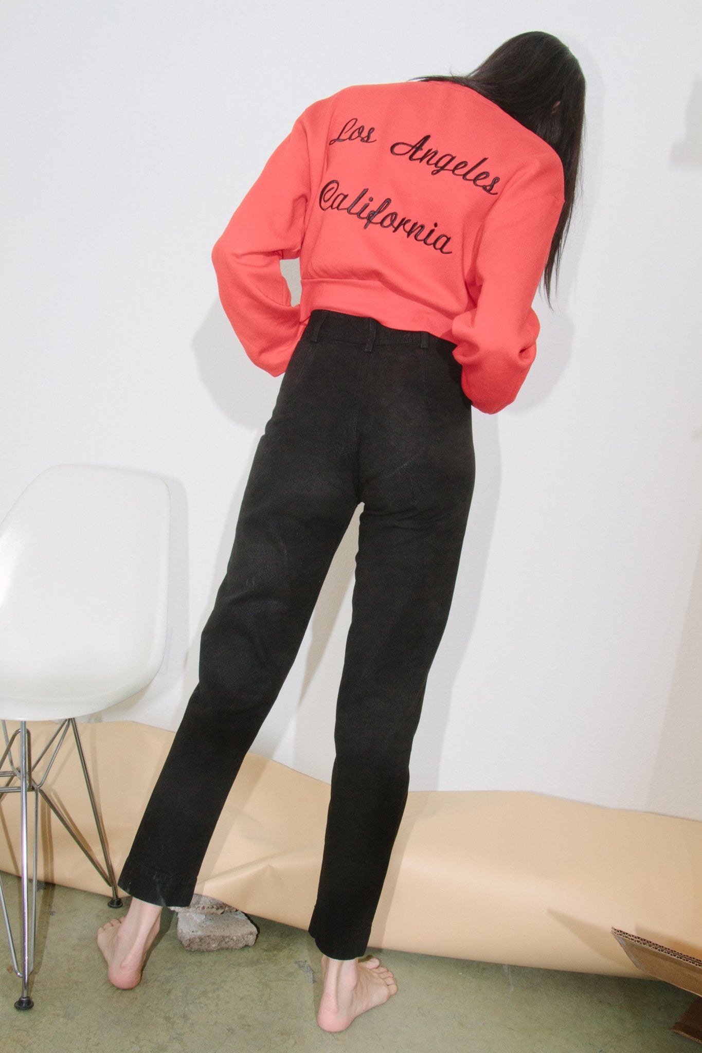 Rodarte Crop Pullover, Red/Black