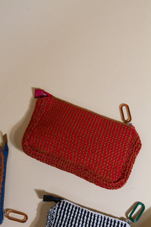 Rubix Crochet Clutch, Red/Cognac