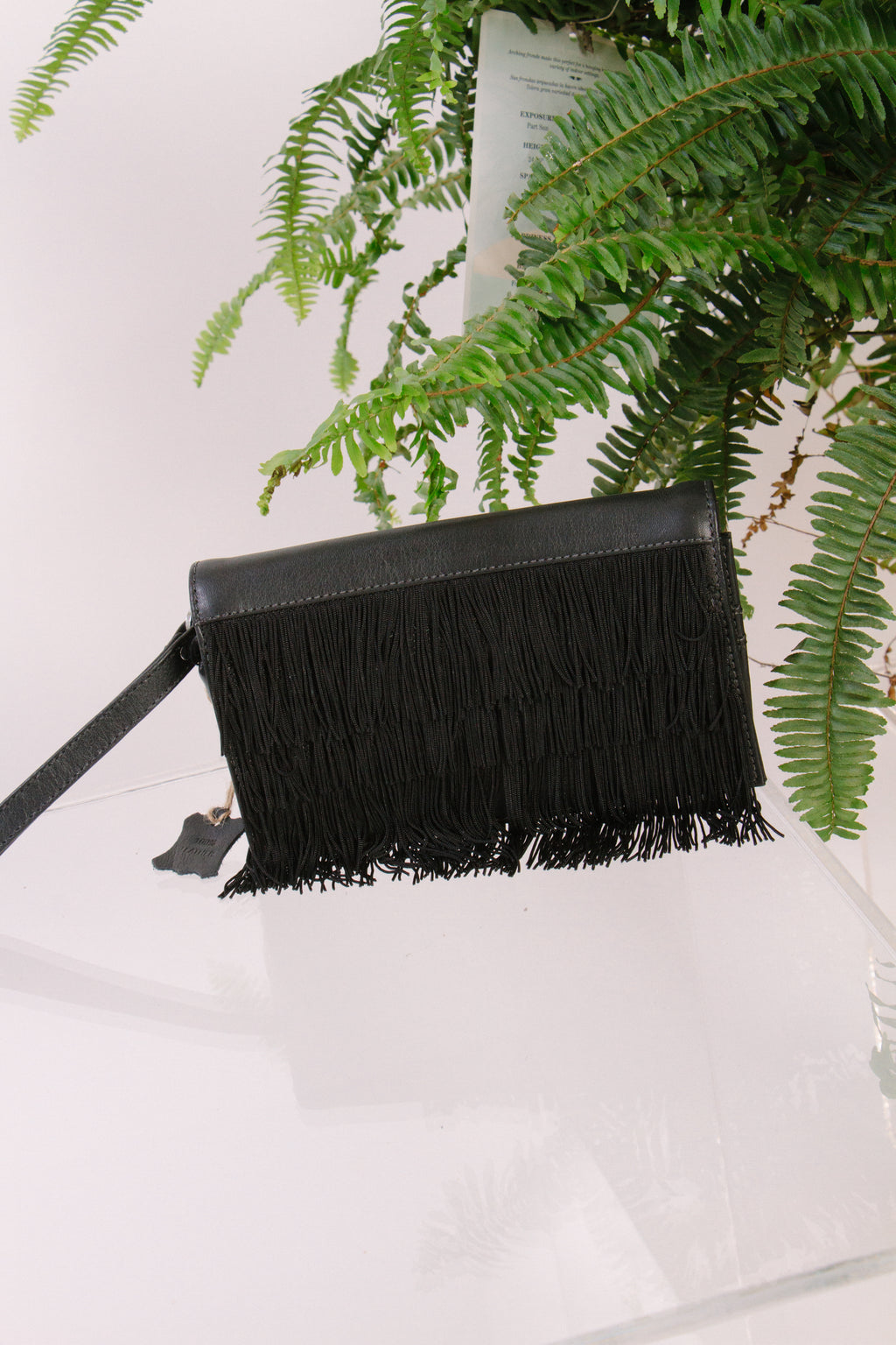 Tacke Fringe Clutch, Black