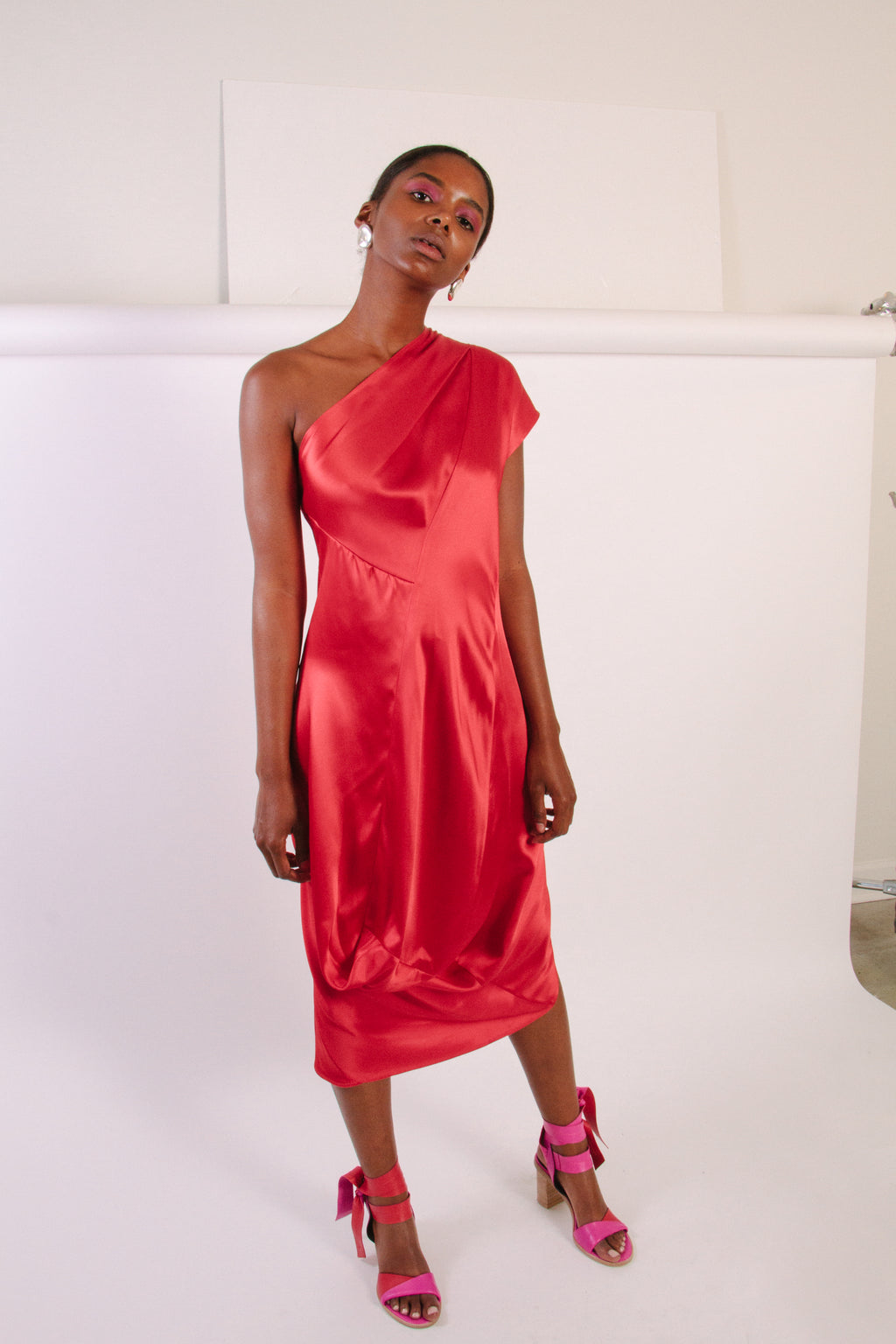 One Shoulder Loop Dress, Poppy/Fuchsia