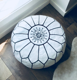 white with black leather moroccan pouf