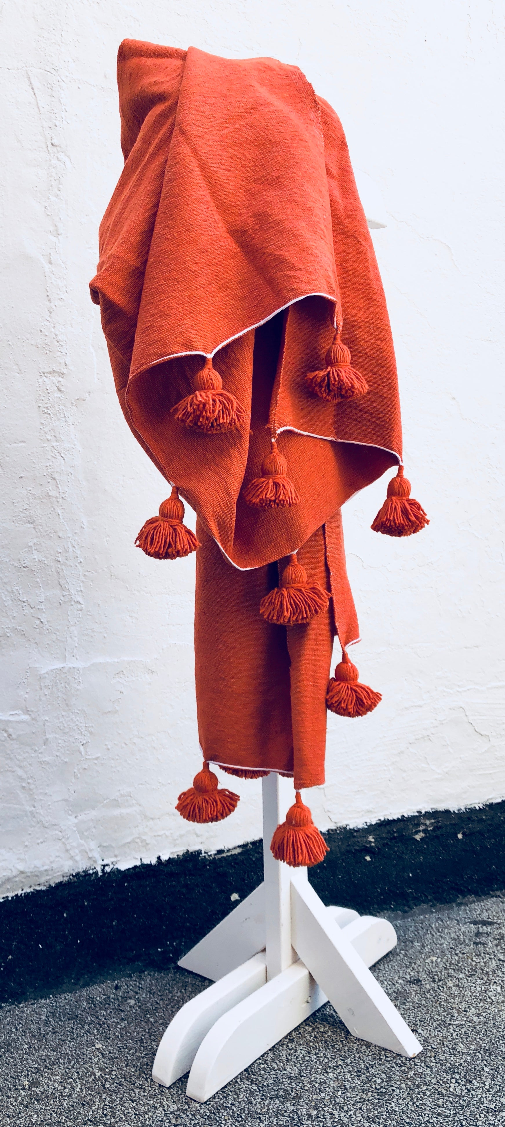 Burnt Orange Atlas Pom blanket