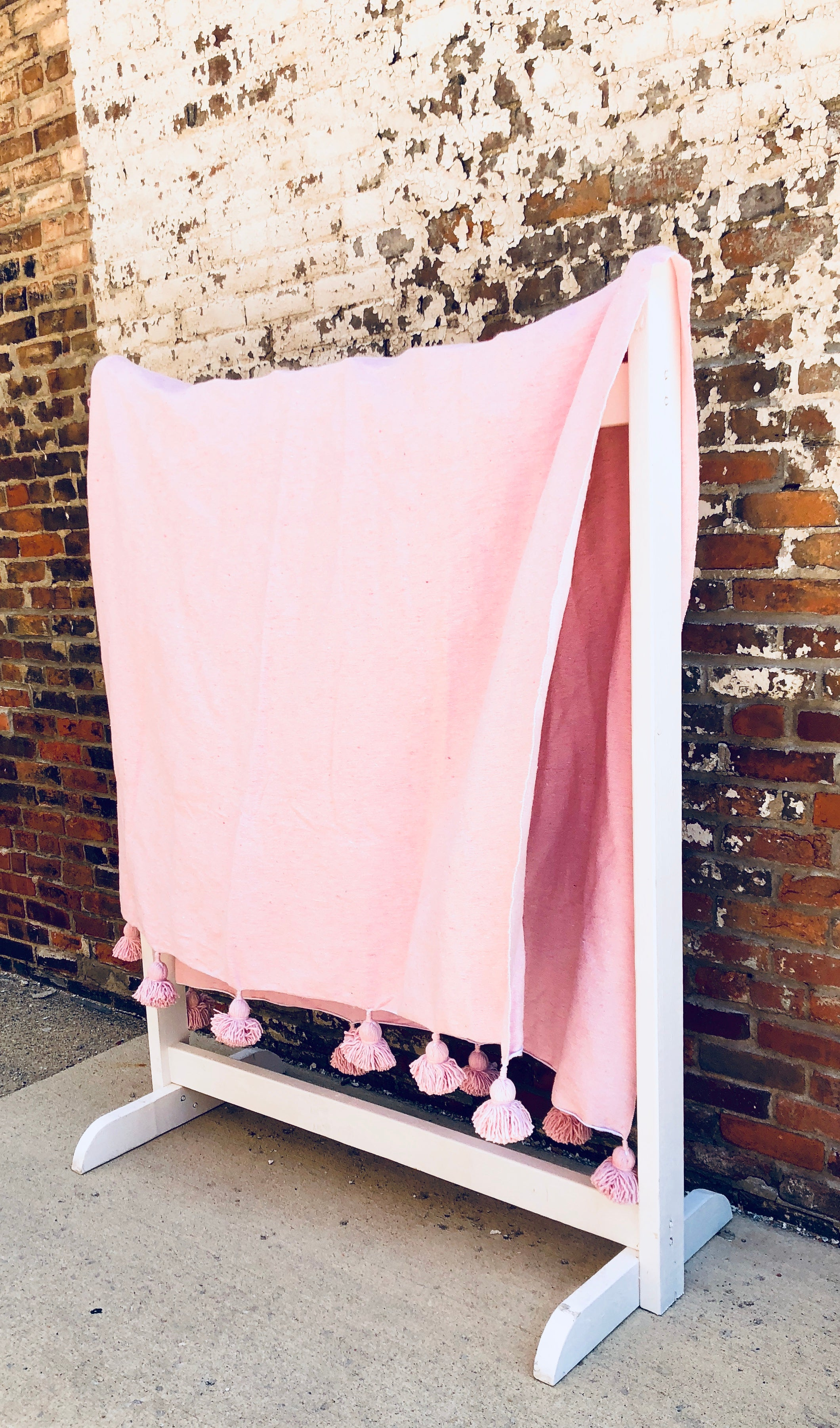 Light Pink Atlas Pom blanket
