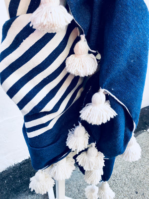 Navy & white Atlas Pom blanket