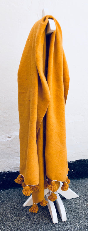 Mustard Wool Atlas Pom blanket