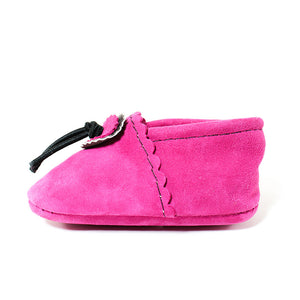 hot pink baby moccasins