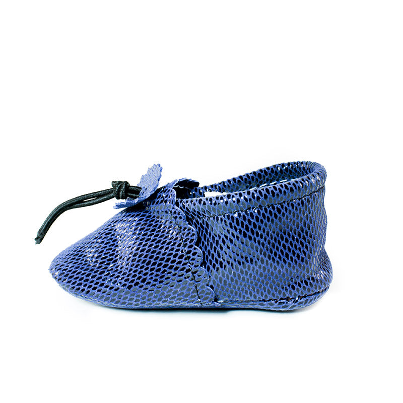 blue disco moccasins
