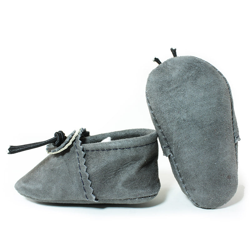 grey baby moccasins