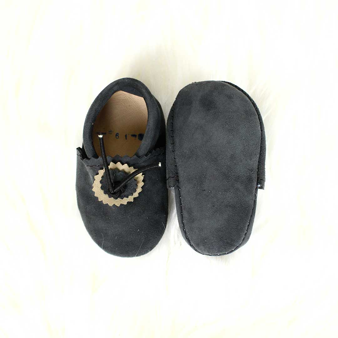 Dark Grey Baby Moccasins