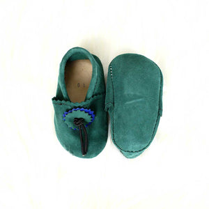 Hunter Green Baby Moccasins