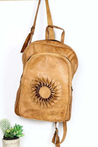 camel sun leather backpack