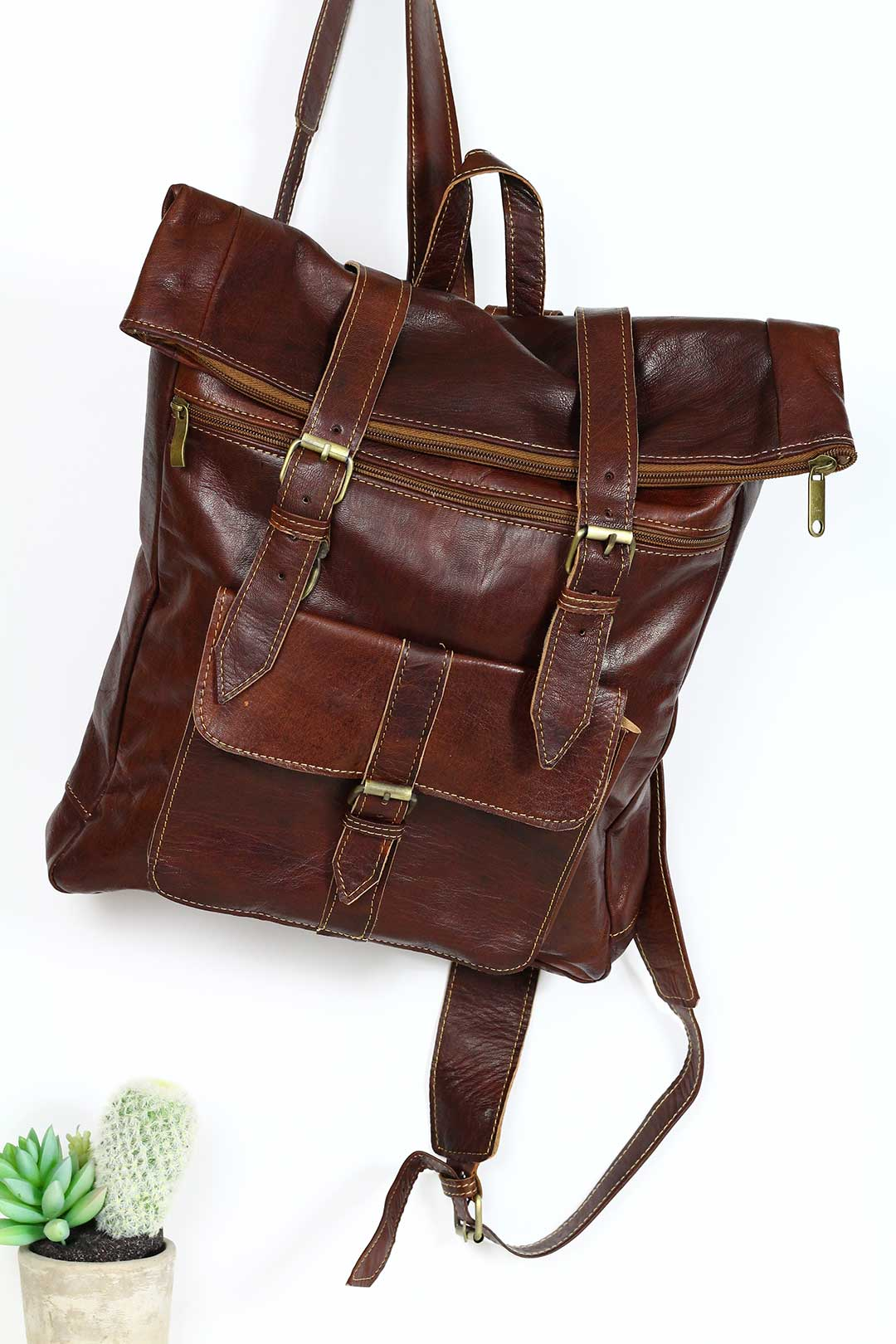 Large Hiking Travel Leather backpack