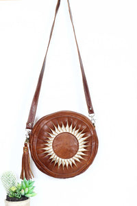 dark Sun Round Leather Crossbody Bag