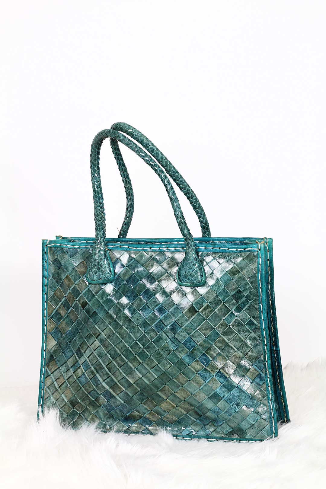 Turquoise Woven Leather Tote bag